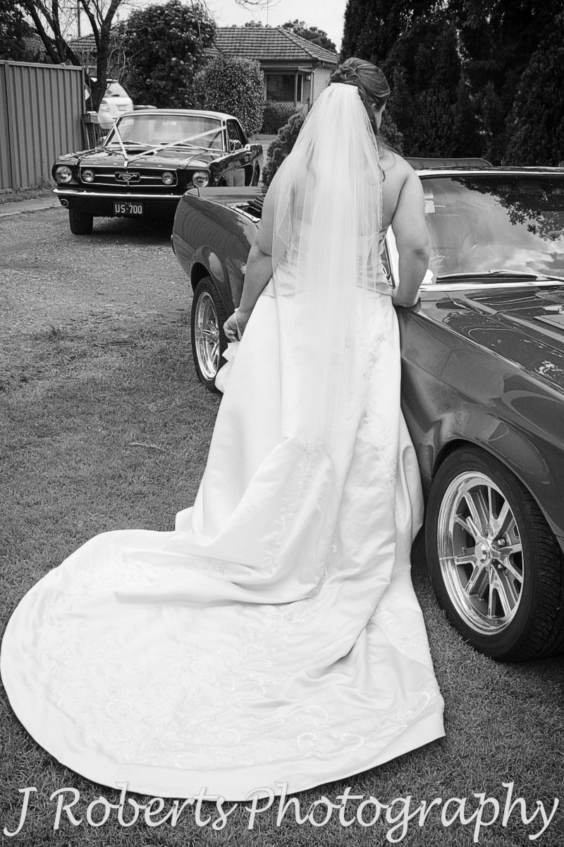 Bride with Ford GT500 - wedding photography sydney