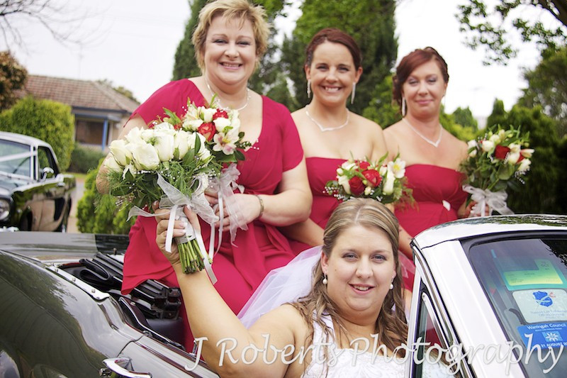 Bride in a mustang with bridesmaids - wedding photography sydney