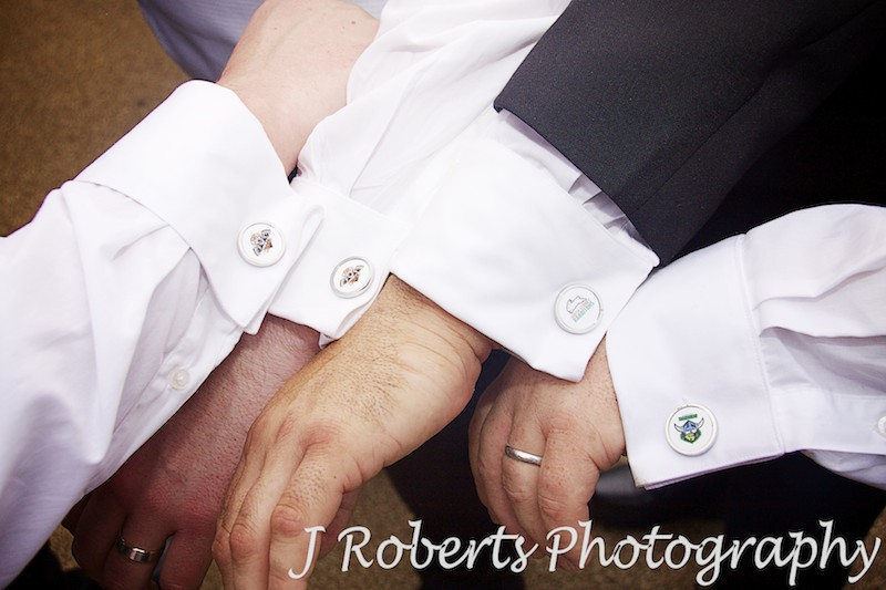 Groomsmen's cuff links - wedding photography sydney
