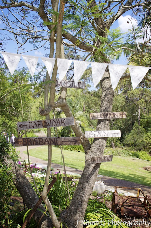 Garden Wedding signage directions to where guests came from - wedding photography sydney