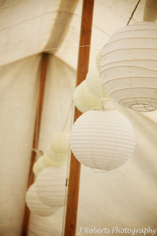 Lanterns in garden marquee - wedding photography sydney
