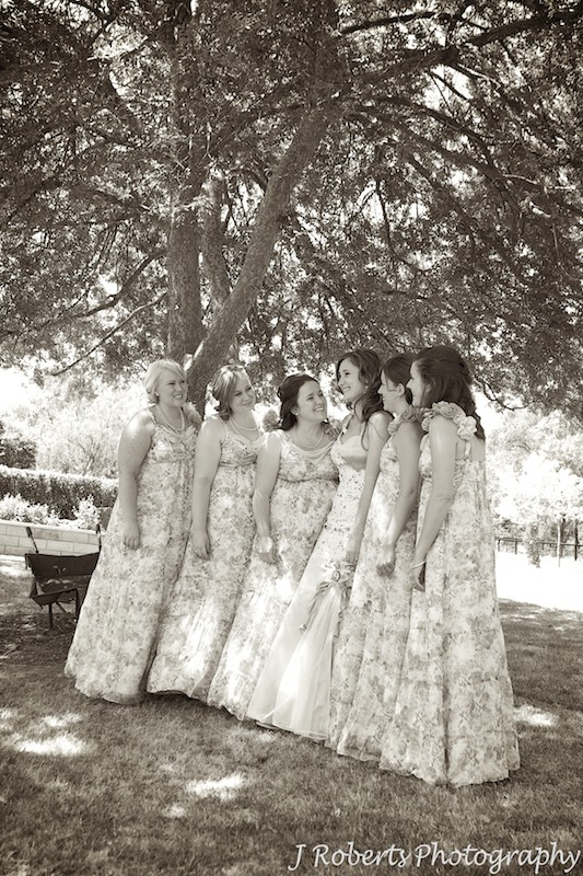 Sepia of bride with bridesmaids - wedding photography sydney