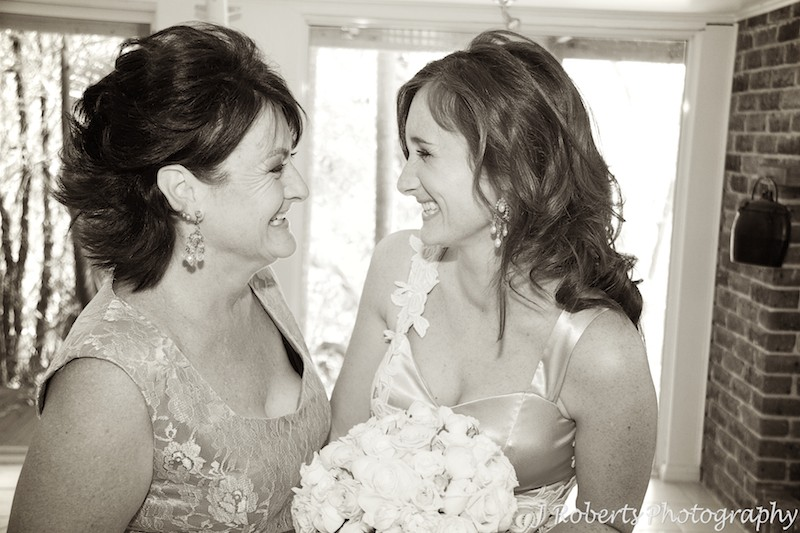 Bride and mother laughing pre wedding - wedding photography sydney