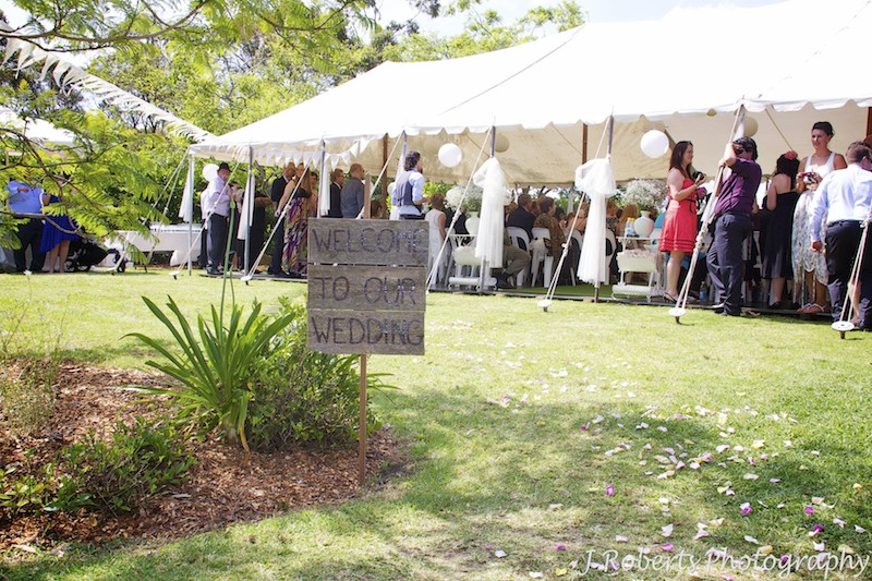 Welcome to our wedding outside in garden marquee - wedding photography sydney