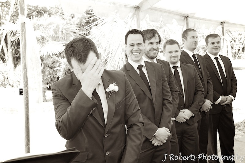 Groom overcome with emotion as bride walks down the aisle - wedding photography sydney