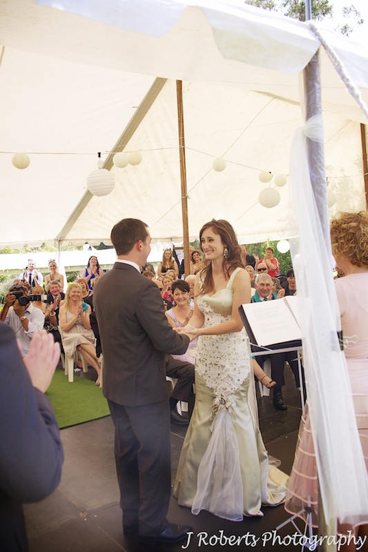 Bride and groom exchanging rings - wedding photography sydney