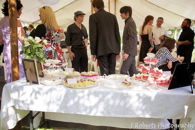 Tea cakes for garden party wedding - wedding photography sydney
