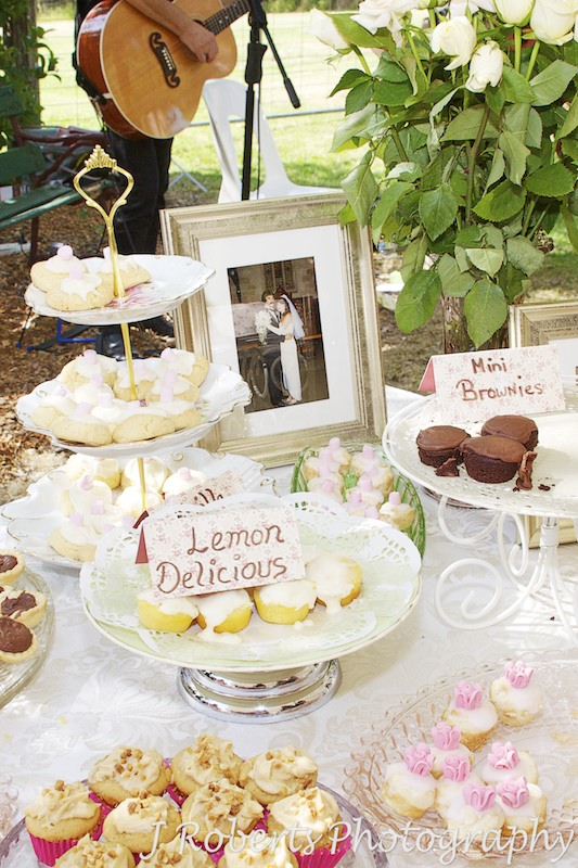 cake stands at garden party wedding - wedding photography sydney