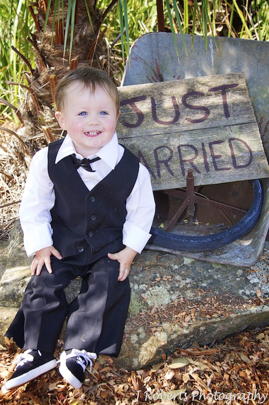 Little boy with just married sign - wedding photography sydney