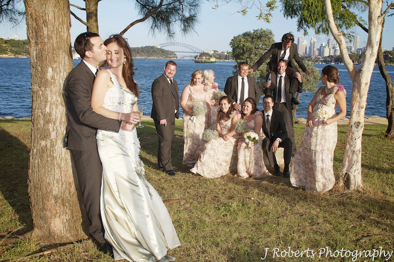Couple with bridal party at Clarks Point Woolwich - wedding photography sydney
