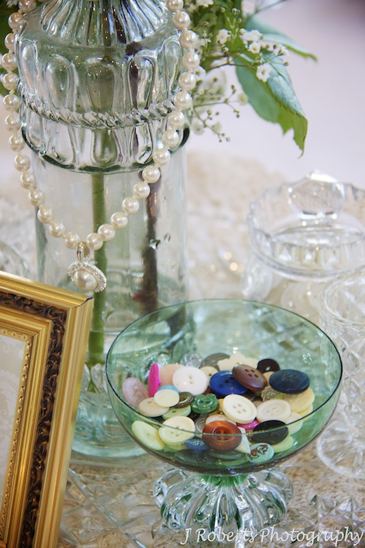 Wedding Table Centres with buttons = wedding photography sydney