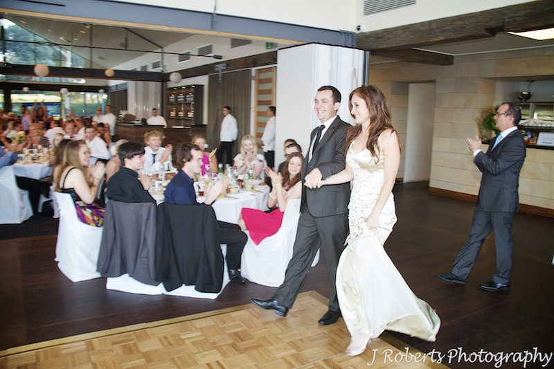 Bride and groom announced into reception at The Deckhouse Woolwich - wedding photography sydney