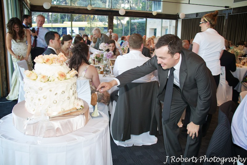 Groom playing with bobble head figurines on wedding cake - wedding photography sydney