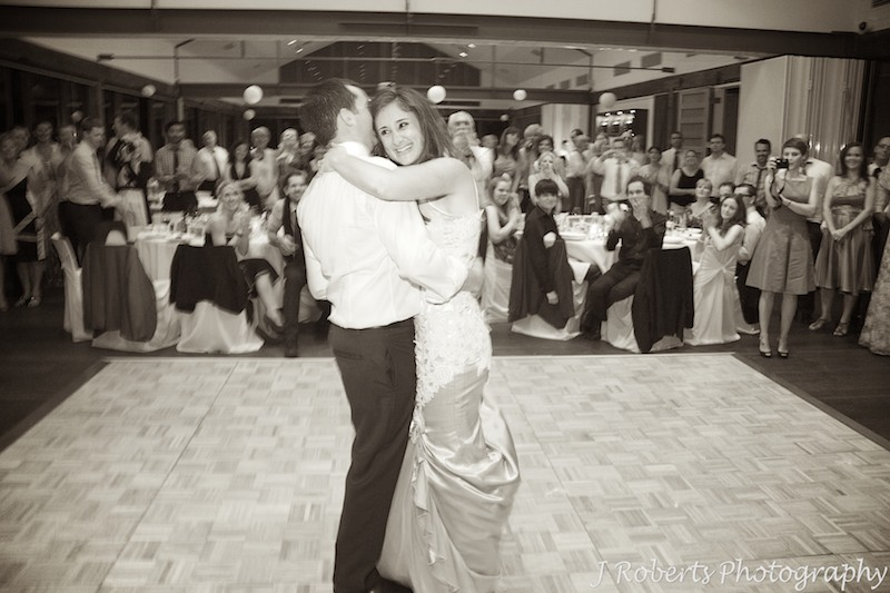 Bride and groom dancing the bridal waltz - wedding photography sydney