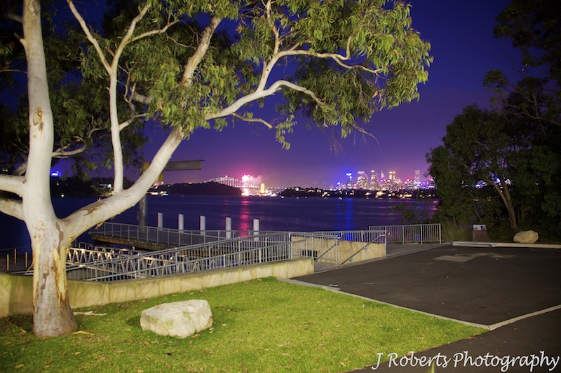 Fireworks over the bridge as seen from The Deckhouse Woolwich - wedding photography sydney
