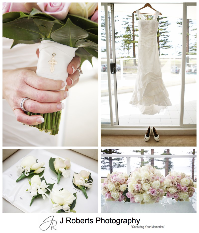 Brides wedding details and dusky pink roses - wedding photography sydney