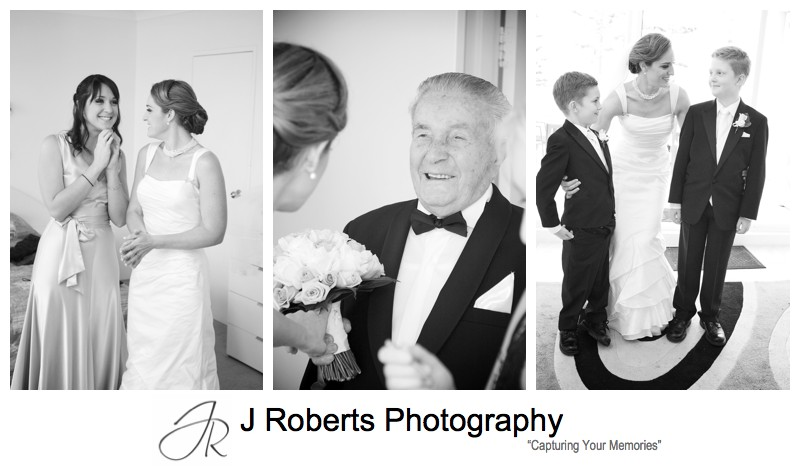 B&W portraits of bride with family - wedding photography sydney