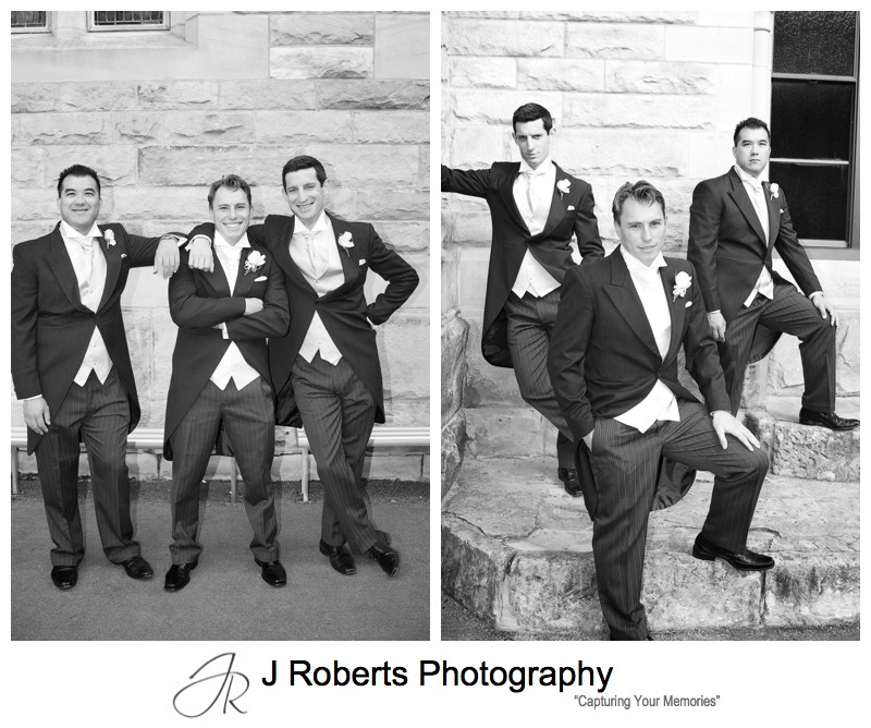 Groom with his groomsmen outside church - wedding photography sydney