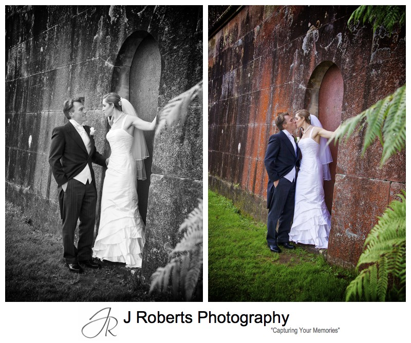Bridal shoot with old battlements at Georges Heights Mosman - wedding photography sydney