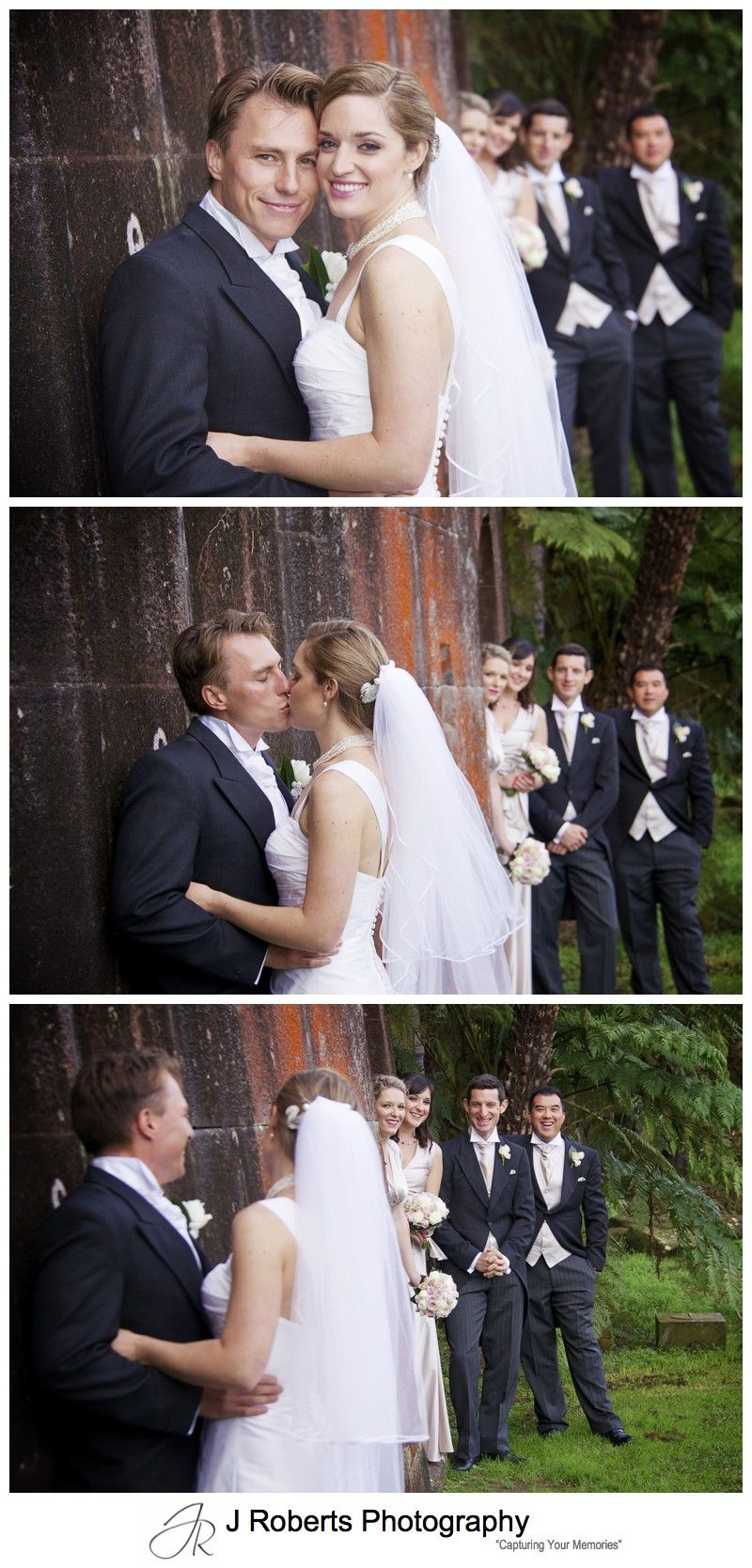 Bridal couple with bridal party watching - wedding photography sydney