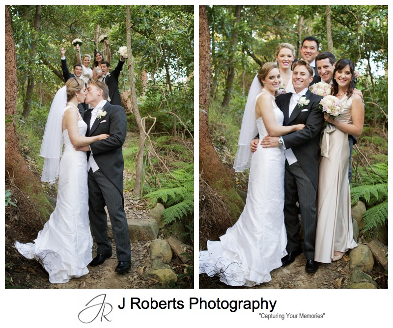 Bridal party in coastal bush - wedding photography sydney