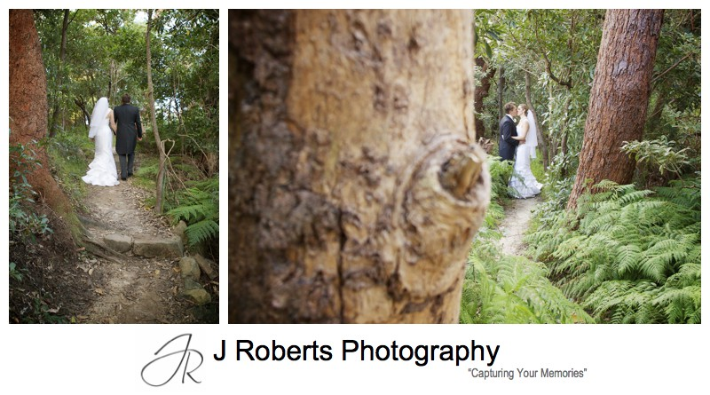 Bride and groom in the bush at Georges Heights Mosman - wedding photography sydney