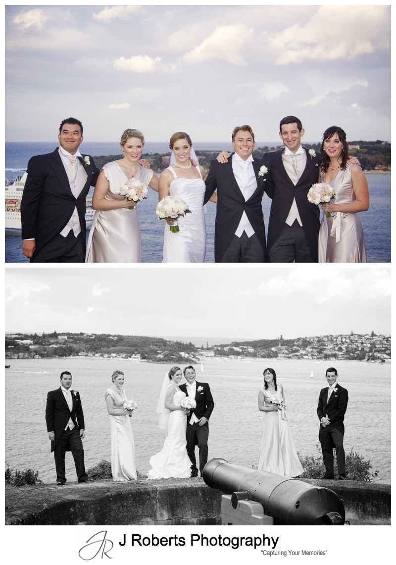 Fun with the bridal party and Sydney Harbour - wedding photography sydney