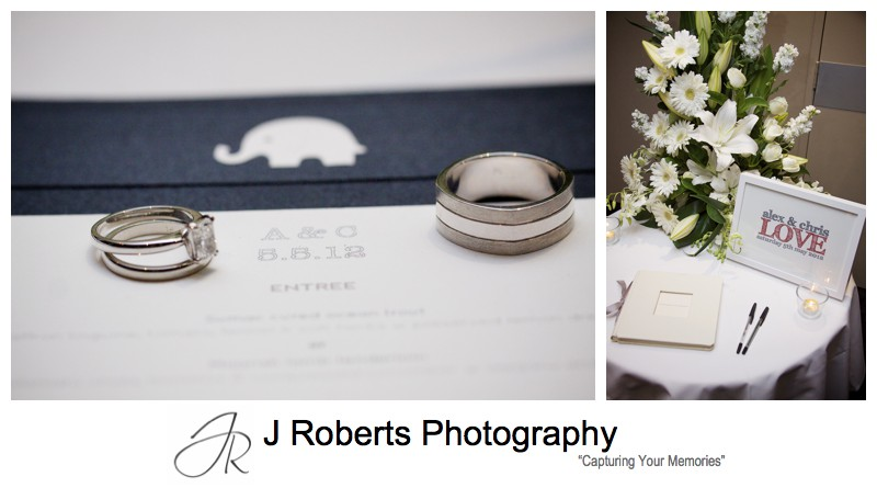 Wedding rings and reception menu details - wedding photography sydney