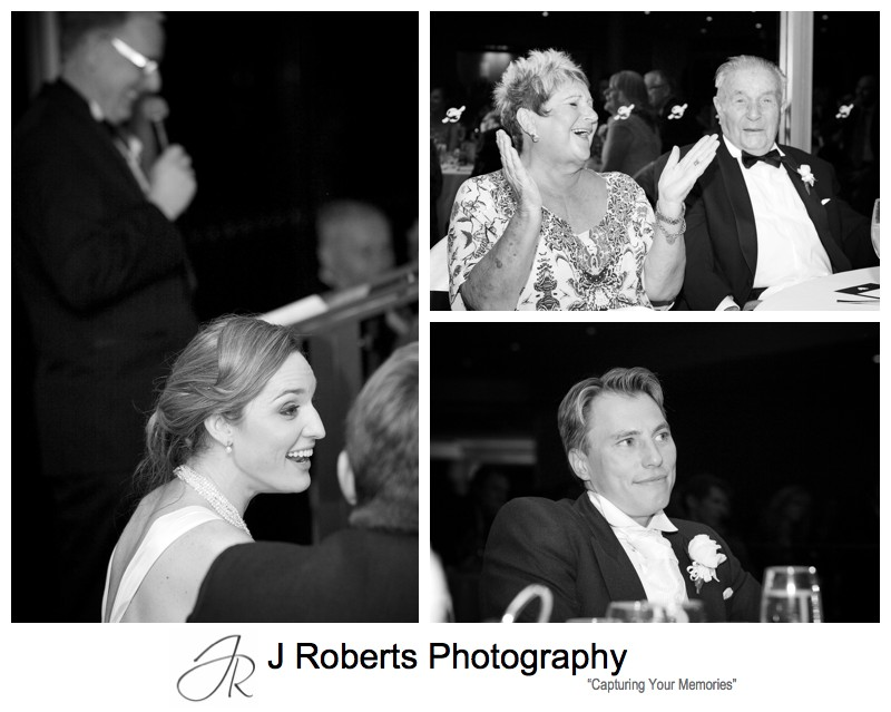 Wedding speech reactions - wedding photography Sydney