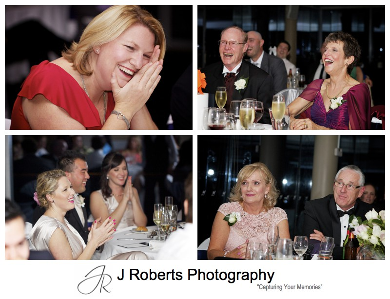 Laughing at wedding speeches - wedding photography sydney
