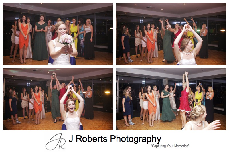 Bride throwing the bouquet = wedding photography sydney