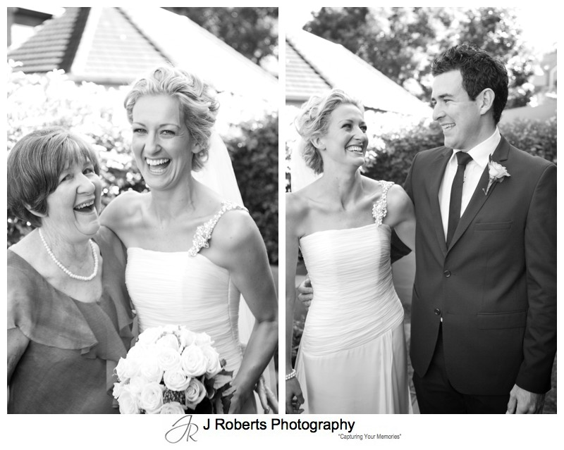 B&W portraits of a bride with her mother and brother - wedding photography sydney