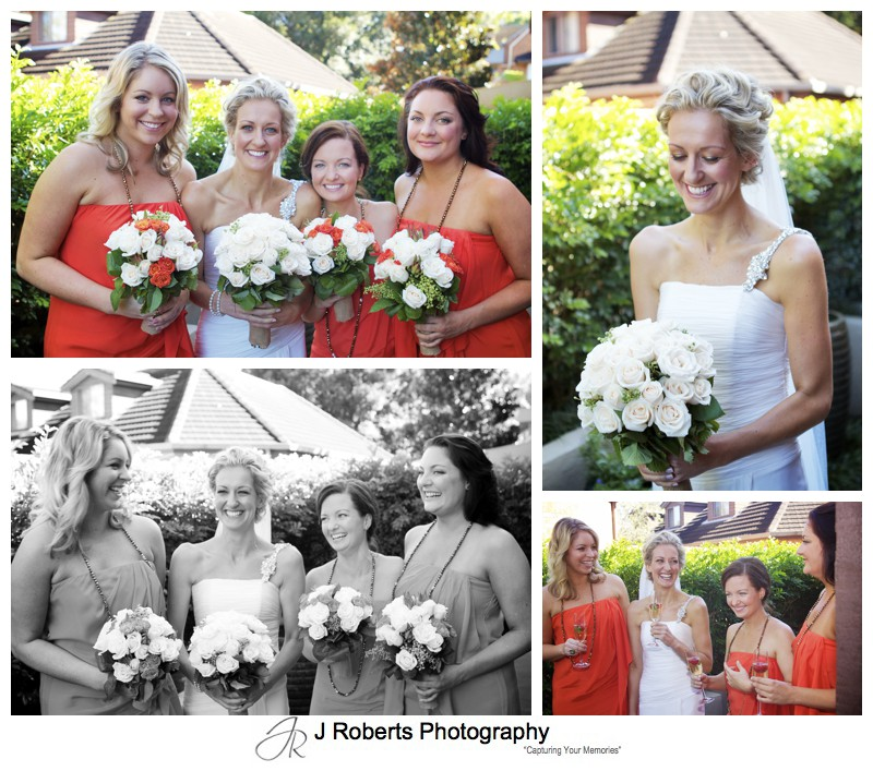 Bride celebrating with her bridesmaids - wedding photography sydney