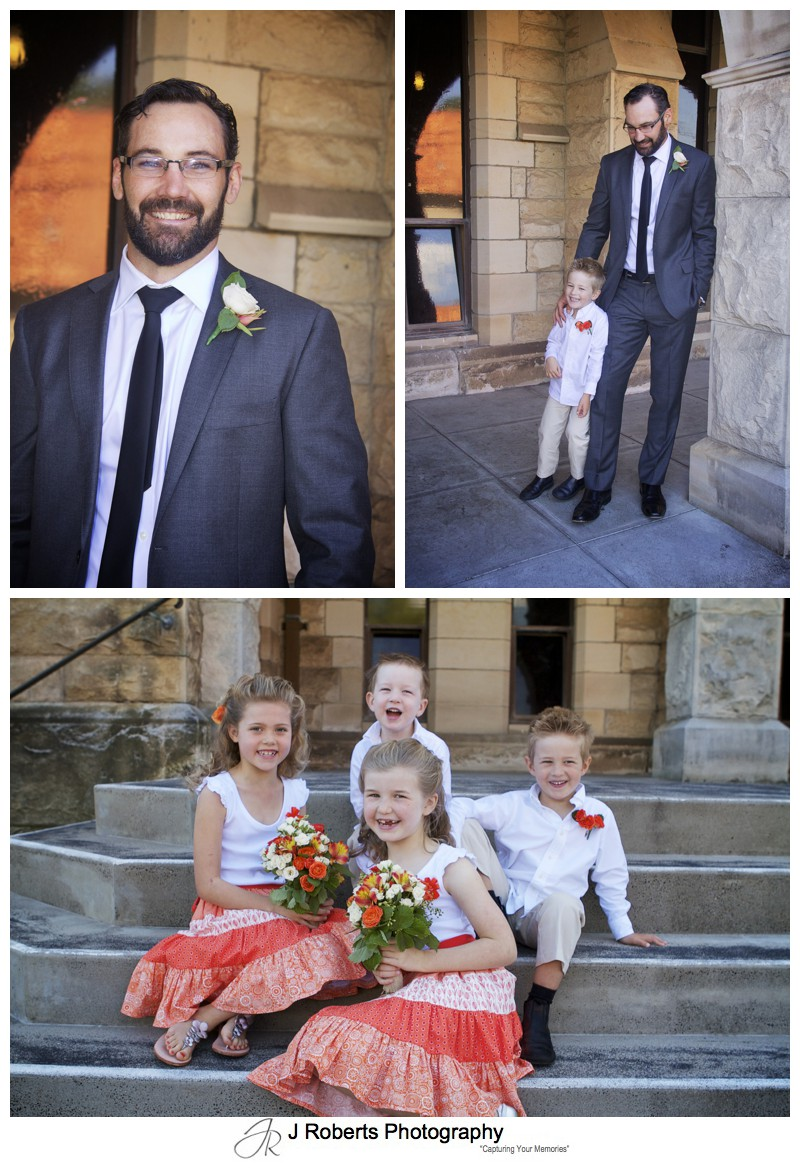 Groom with young attendants pre ceremony - wedding photography sydney