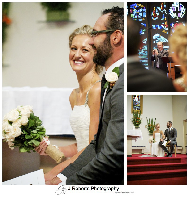 Bride and groom during church wedding ceremony - wedding photography sydney
