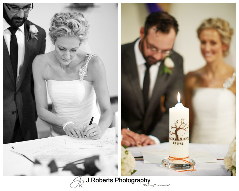 Couple signing the register - wedding photography sydney