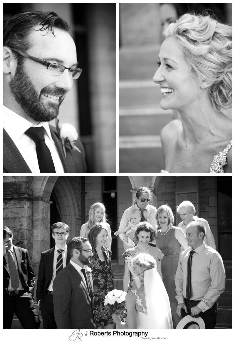Couple being congratulated by guests - wedding photography sydney