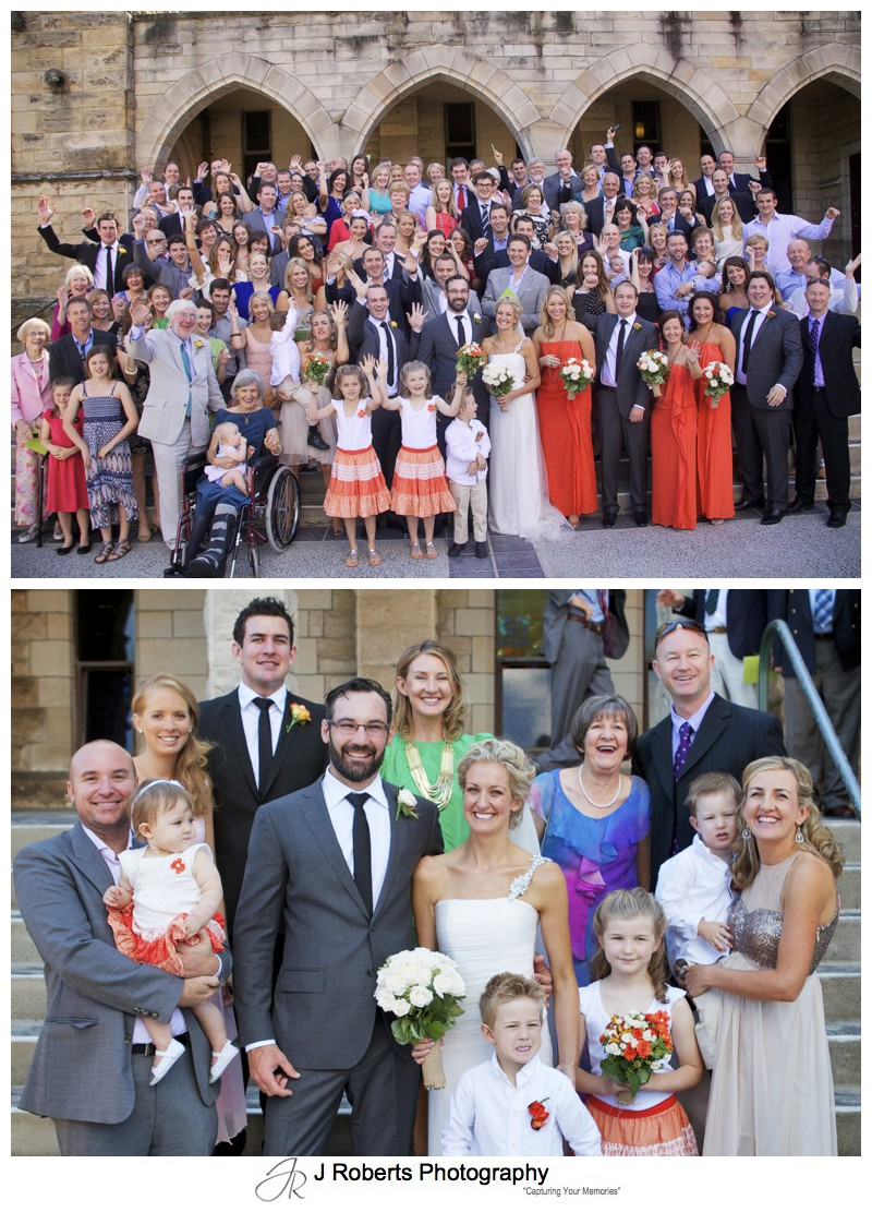 All guests on the steps outside the church - wedding photography sydney