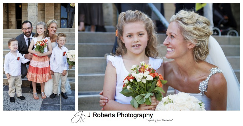 Couple with flower girls and boys - wedding photography sydney