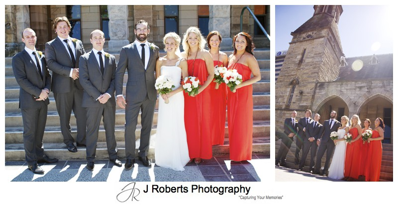 Bridal party on church steps - wedding photography sydney
