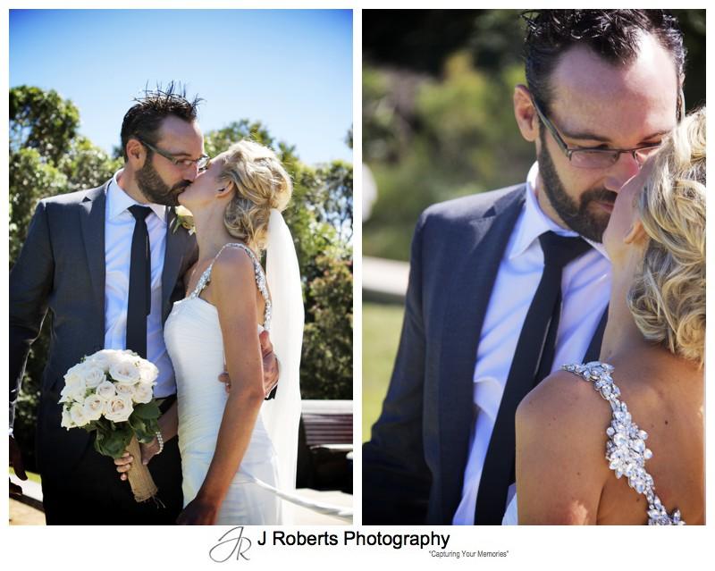 Bride and groom kissing - wedding photography sydney