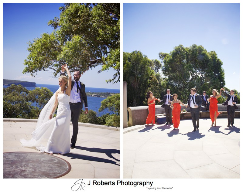 Couple and bridal party dancing at Georges Heights - wedding photography sydney