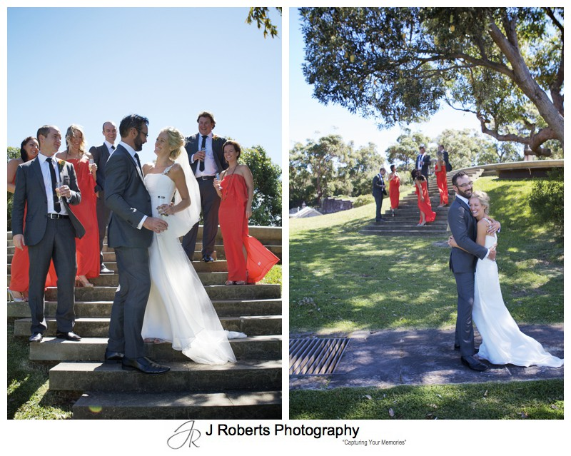 Couple with bridal party on Georges Headland Mosman - wedding photography sydney
