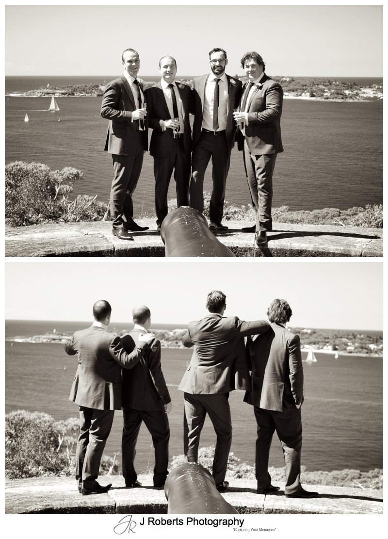 Sepia photos of groom with his groomsmen - wedding photography sydney