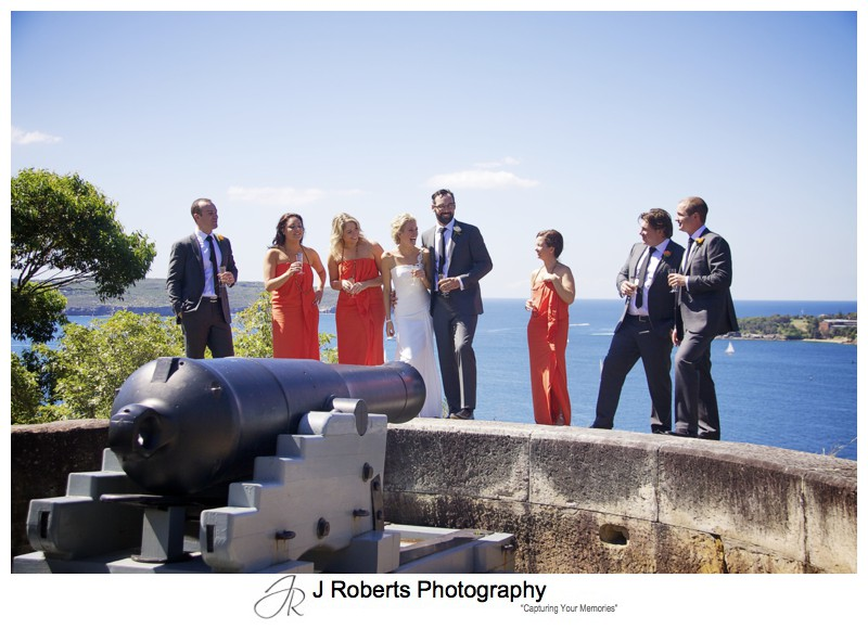 Bridal party having fun on bridal shoot - wedding photography sydney