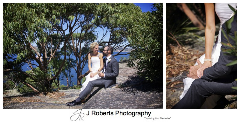 Couple portrait with Sydney coastal gum and sydney harbour as backdrop - wedding photography sydney
