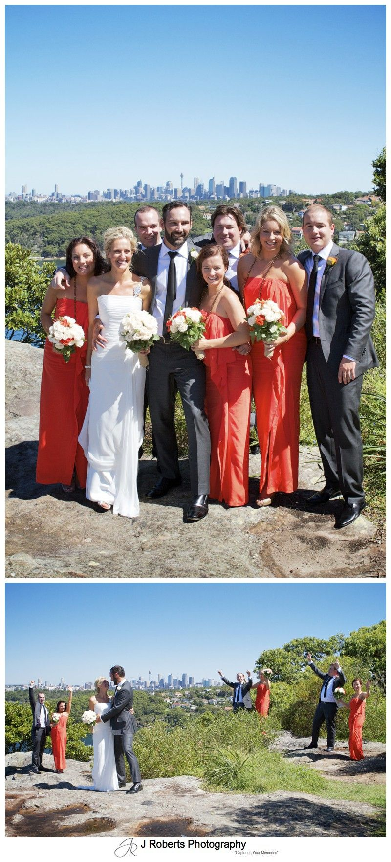 Bridal party on Georges headland mosman - wedding photography sydney