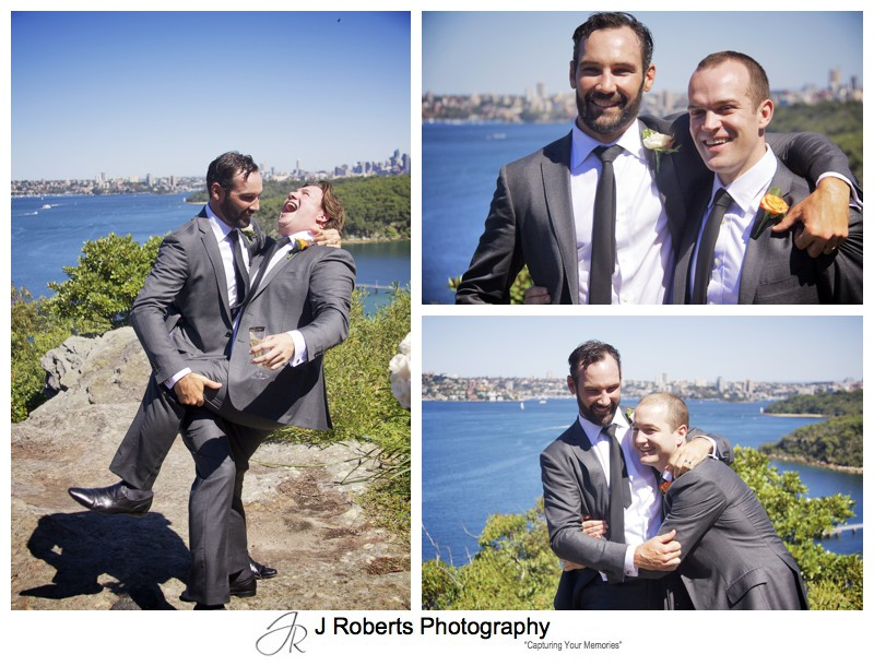 Groom mucking around with his groomsmen - wedding photography sydney