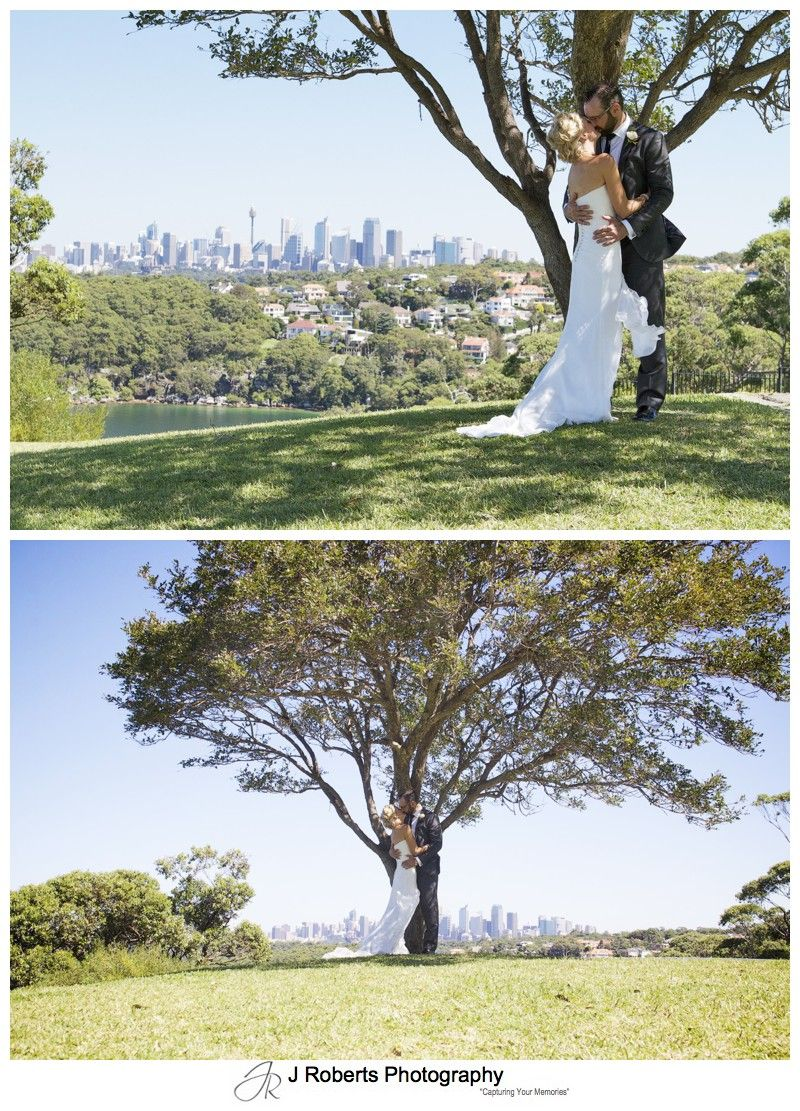Couple kissing under a tree - wedding photography sydney