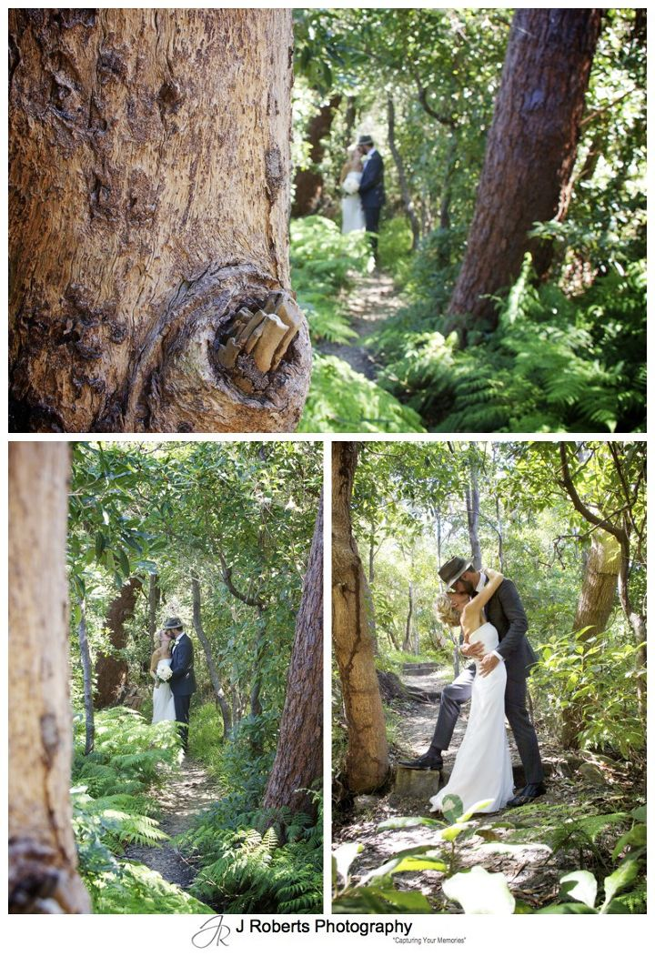 Bridal couple in coastal bush setting - wedding photography sydney